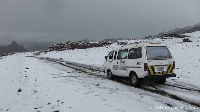 The snow-covered road on the drive up Nevado del Ruiz.