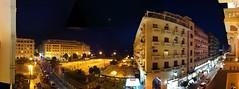 Aristotle Square at night (Meg Pickard) Tags: autostitch panorama hotel greece thessaloniki iphone
