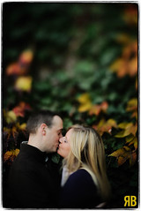 Fading Into Fall (Ryan Brenizer) Tags: nyc wedding woman man groom bride nikon kiss centralpark 85mmf14d engagementshoot d3s freelensing