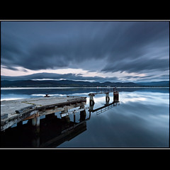 (David Panevin) Tags: longexposure morning sky bw seascape beach water clouds reflections landscape object jetty australia olympus tasmania e3 beforesunrise howden sigma1020mmf456exdchsm bwnd davidpanevin