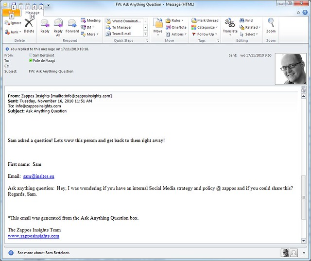 Zappos internal mails invite to wow customers