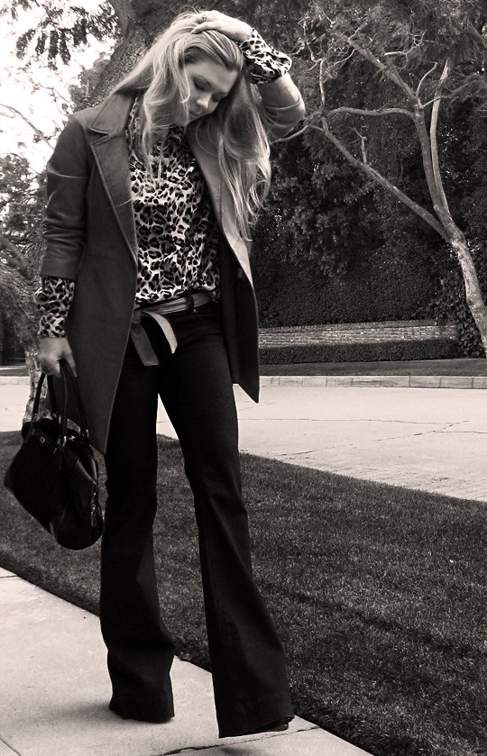 vintage outfit+j brand flared jeans+bellbottoms+60's and 70's fashion mix, leopard print, fashion, what I wore, style, los angeles