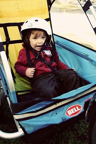 silas in the bike trailer