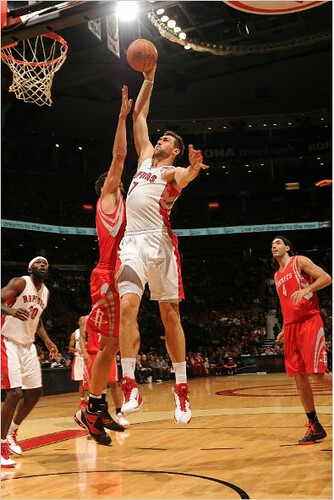 November 19th, 2010 - Toronto's Andrea Bargnani had an easy time getting to the hoop without Yao in the middle to guard the paint.