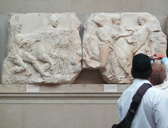 Parthenon, South Frieze, Slab 44 (Oxen) and Photographer (profzucker) Tags: athens frieze parthenon classical britishmuseum acropolis ancientgreece reliefsculpture phidias 438bcepentelic