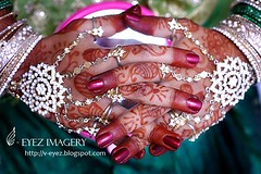 red fingers of a bride