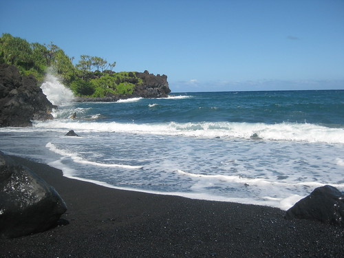 a beautiful black sand beach