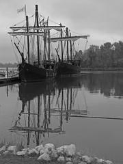 The Nia & Pinta (Roger Smith) Tags: columbus blackandwhite bw reflection mississippi boats ship nia christophercolumbus caravel pinta 1492 tenntom tennesseetombigbeewaterway recplica