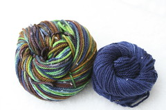 Yarn Pirate Aran BFL-- Earl + Navy Trim