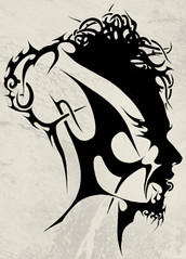 FACE (Black Crown . tribal) Tags: white black art design arte mask head bad tribal tatoo ilustration disgn