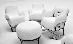 . (skylar_dickenson) Tags: winter bw snow outside chairs snowy