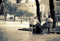Come to play. Bring your own chair. (612gr) Tags: old summer playing greek alone loneliness chairs grandfather oldman greece thessaloniki oldmen aristotelous sixtwelve 612gr planet612 planet612gr