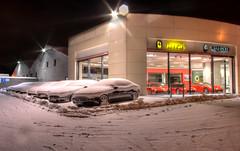 Not the weather for an Italian Sports Car (MarkE_T) Tags: snow pentax leeds ferrari showroom hdr maserati k10d pentaxk10d snowpentaxk10dpentax k10dleeds