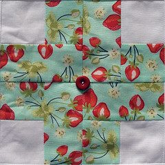 Modern Crosses Quilt for Bobbin's Nest, block detail (amyehodge) Tags: pink blue red orange baby white green floral purple quilt teal strawberries polkadots logcabin susanbeal modernlogcabinquilting