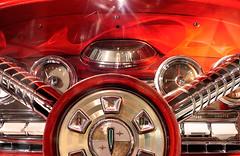 Hot Chrome (Seeing Visions) Tags: 2017 unitedstates us michigan mi lansing michiganhistorycenter car automobile musclecar corvette sportscar fast dials steeringwheel dash chrome refraction switches orange raymondfujioka