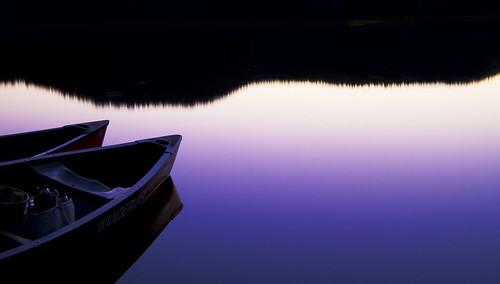 フリー写真素材, 自然・風景, 湖・池, 夕日・夕焼け・日没, ボート・カヌー, パープル,