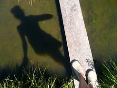 walking on water (giolou) Tags: bridge shadow sun storm feet me wet water rain garden aftermath flooding mud flood pennsylvania july soil plank highwater waterlogged