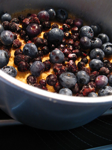 Mix of frozen and fresh blueberries