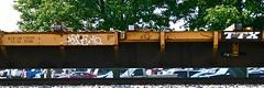 Bonk KB (mightyquinninwky) Tags: railroad art yard graffiti streak tag graf tracks railway tags tagged railcar rails graff graphiti kb freight bonk gravel trainyard trainart rollingstock ttx freightyard flatcar railart stacker intermodal moniker movingart freightart rollingart paintedrailcar paintedfreight taggedrailcar intermodalcar taggedfreight