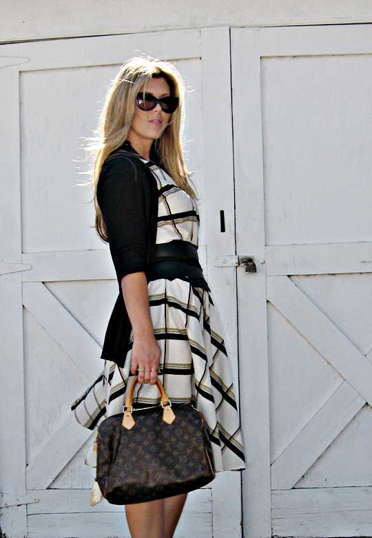 vintage day dress with cardigan+wide leather belt with raw edges+tom ford anouk sunglasses+louis vuitton bag+light
