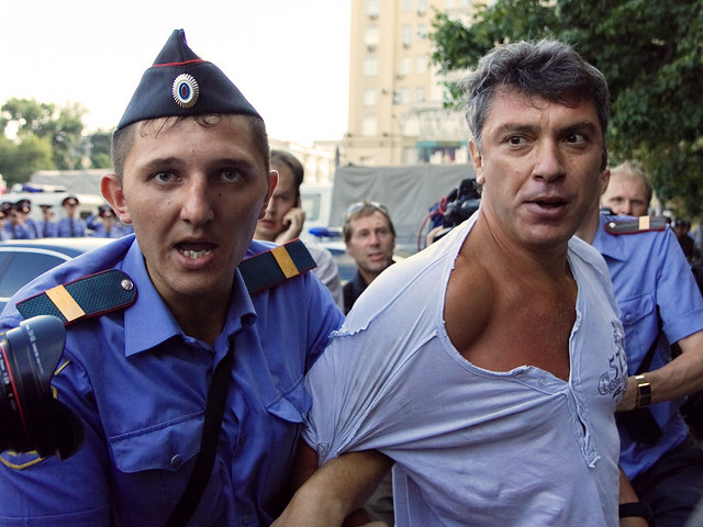 Police detain Russian opposition leader Boris Nemtsov in Moscow on Triumfalnaya square during opposition action for freedom of meetings