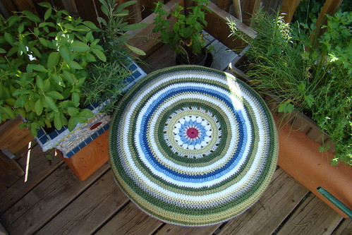 Top of stool cover made in crochet