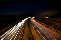 Luces en la autovia (5 EXPLORE - 01-09-2010) (Jose Casielles) Tags: puente luces coches yecla estela largaexposicin autovia fotografasjcasielles
