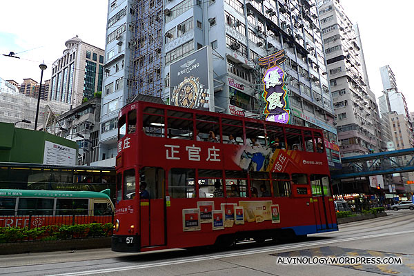 "Hong Kong's unique ""Ding Ding"" tram - I love this, each ride cost like around 20 cents in Singapore currency"