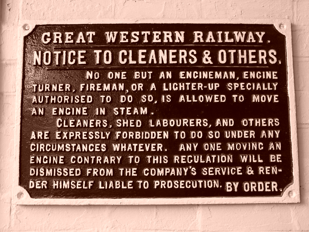 Great Western Railway - Notice to Cleaners & Others