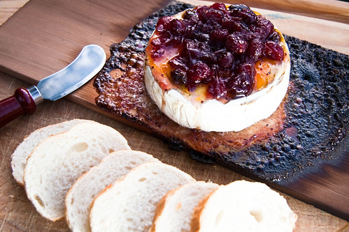 Griddle-Planked Brie with Amaretto-Peach Chutney & Cranberry Conserve