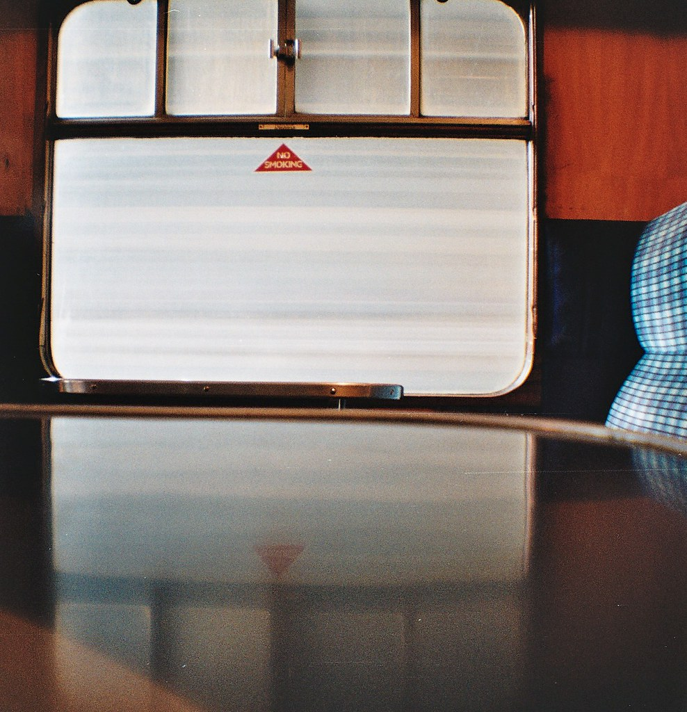 photo in a train carriage with my Diana Mini