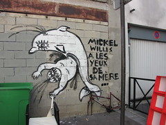 by Zoo Project (tofz4u) Tags: 75014 paris streetart artderue graffiti tag zooproject poubelle trashbin brokenbicycle dauphin dolphin mickelwillis
