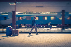 Movement (gabriela_art) Tags: travel station clouds train tren 50mm movement waiting wait nori constanta traveler gara statie asteptare miscare calatorie calator caleferata nikond90 depou linieferata