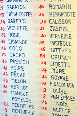 ice cream flavors at Fennochio