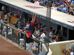 Mauer and the guys laughing in the dugout (rburtzel) Tags: park jason game home valencia field minnesota laughing los twins baseball angeles outdoor stadium 21st minneapolis august joe ron angels carl danny target hanging around anaheim goofing mn dugout mauer 2010 mlb gardenhire pavano kubel 8212010