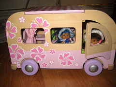 Pattie and Dollie living the American Dream. (beckynot) Tags: rv mobilehome dollhouse trolldolls recreationalvehicle scoobyvan