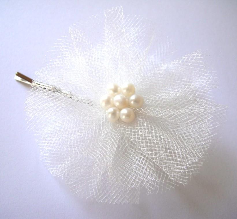 ivory cream white rose bloom wedding flower bobby pin