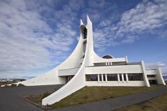 Stykkishlmskirkja (NRG Photos) Tags: blue sky white church architecture clouds island iceland kirche himmel wolken wideangle architektur blau stykkishlmur weitwinkel weis sigma1020mmf456exdchsm stykkishlmskirkja