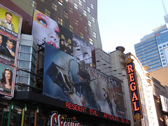 Resident Evil Afterlife 3D Movie Poster Billboard 42nd Street 4583 (Brechtbug) Tags: above street new york city nyc cinema man game building film fashion hammer by movie poster marquee mercedes benz hotel video 3d near destruction side ad evil s next billboard advertisement hollywood axe week masked avenue 8th regal 42nd milla afterlife maybelline jovovich hooded resident maybeline 9112010