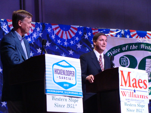 Gubernatorial candidates John Hickenlooper and Dan Maes debate the issues.