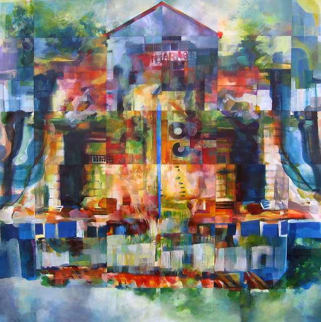 Garage 283, acrylic on canvas, 36 x 36 inches, 2010 by Sarah Atlee