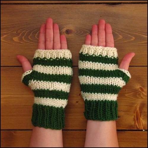 green and cream stripey fingerless gloves