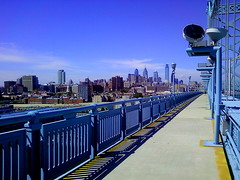 Philly Skyline 09142010 (jomak14) Tags: cameraphone bluesky lg benfranklinbridge emailupload phillyskyline philadelphiapa 2mb gr500 lunchtimerun southwalkway runningaroundphiladelphia 09142012