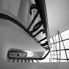 jump! (helen sotiriadis) Tags: bw white black detail window monochrome architecture stairs spiral jump stair vertigo rail evolution down athens greece step staircase douglasadams riser