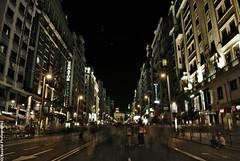 La Gran Va por la noche (Naoufal Portraits Photography) Tags: madrid light people espaa luz night luces noche moving long exposure dynamic gente social fair movimiento via gran miedo larga exposicin dinmico
