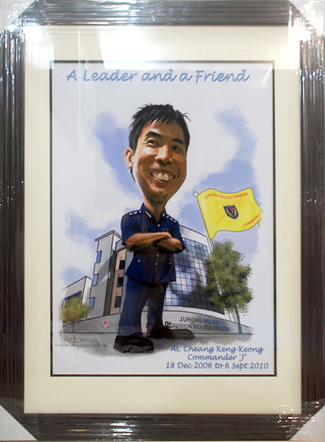 A2 size digital caricature for SIngapore Police Force with frame