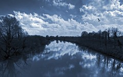 BLUESky (Robyn Hooz) Tags: italy reflection ex monochrome clouds canon river italia nuvole fiume sigma ponte 1020 riflessi brenta padova monocromatico hsm 550d
