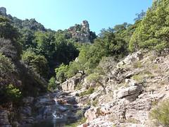 Entre la triple vasque-cascade et la confluence Quarcitellu : vers l'aiguille 829m et Posta di A Strada