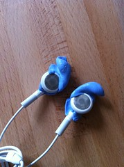 Apple earbuds from front
