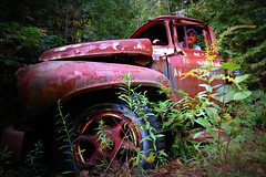 introducing the Julie McCoy of canadian junkyards (artsy_T) Tags: old chris ontario canada truck vintage antique rusted junkyard rockwood molsons mcleans